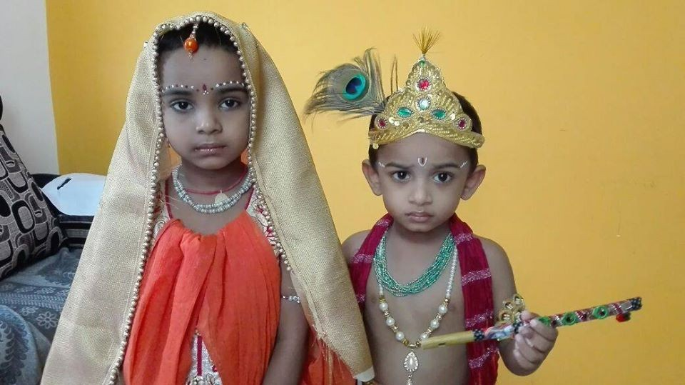 Children are presenting as a Lord Krishna & Radha