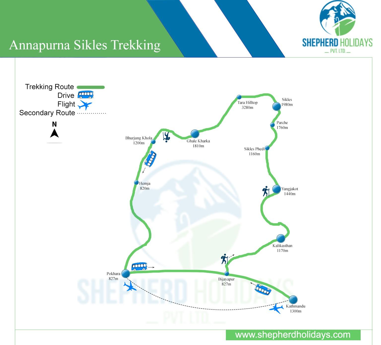 Annapurana Sikles Trekking map